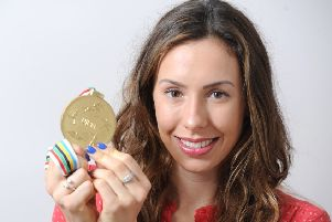 Samantha Murray pictured in 2014 with her Modern Pentathlon World Championship gold medal (photo: Neil Cross)