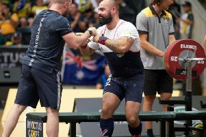 Jonny Mitchell competing in powerlifting