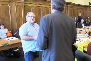 Lib Dem group leader David Whipp (left) and Conservative leader of Lancashire County Council Geoff Driver