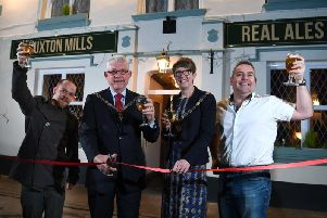 The Deputy Mayor and Mayoress of Chorley, Coun Greg and Jocelyn Morgan with Leam and Lee Moffitt at the re-launch of the Euxton Mills, Chorley