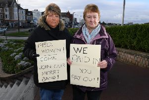 Photo Neil Cross'Karen Carter and Christina Barrett fighting pension injustice