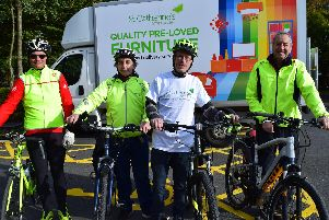 St Catherines Hospice Chorley furniture shop manager Mark Piotrowski with volunteers David Topping, Carl Whittle and Martyn Slowinski ahead of their Guild Wheel sponsored bike ride