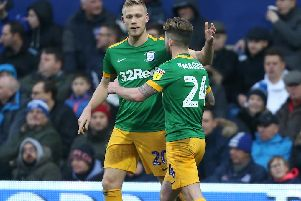 Jayden Stockley is congratulated on his first PNE goal by Sean Maguire