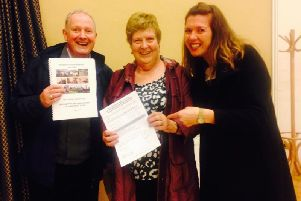 Parish Council councillors David Mills, coun Pat Hastings and coun Leila Eccles after villagers voted overwhelmingly to support the Neighbourhood Plan which allows them to have a say on housing developments.