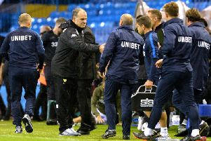 Marcelo Bielsa with the PNE coaching staff after the game at Elland Road