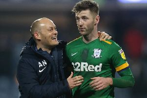 Preston boss Alex Neil with Paul Gallagher after the win over QPR on Saturday