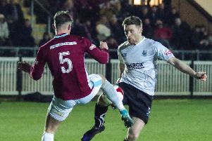 Bamber Bridge's Kieran Charnock, in action during the 3-2 win over South Shields last season, is set to miss this weekend's encounter after suffering a reaction to his Achilles tendonitis  problem     PHOTO: Ruth Hornby