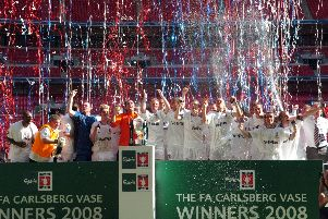 Kirkham and Wesham (now AFC Fylde) celebrate lifting the FA Vase in 2008
