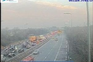 The rolling roadblock is on the M6 northbound