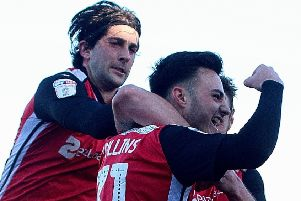 Aaron Collins celebrates his goal against Forest Green Rovers
