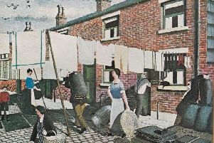 Not the missing picture, but a typical George Mainwaring scene painted from his memories of growing up in 1920's Rochdale.