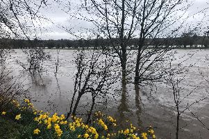 The River Ribble has burst its banks at Walton-le-Dale with flood warnings in place for several parts of Lancashire