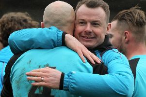 Chorley manager Jamie Vermiglio embraces skipper Andy Teague at full time: Photo credit Josh Vosper