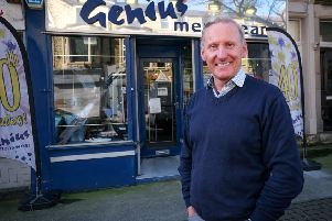 Stuart Morgan of Genius menswear, Morecambe, who is retiring and closing his shop after 42 years in business.