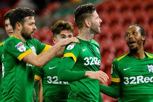 Paul Gallagher is congratulated by his Preston team-mates after scoring the 100th goal of his career in the 2-1 win at Middlesbrough