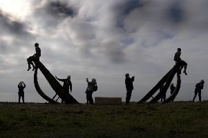 A sculpture of a ship and two figures was unveiled at Half Moon Bay.