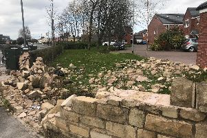 Damage caused to a wall following a collision last night in Bamber Bridge