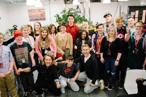 Take That meet with young cancer patients including Preston teenager Jack Singleton, 15, (back centre in red hoody) at the Teenage Cancer Trust concert at the Royal Albert Hall in London