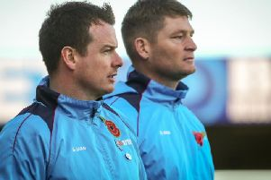 Chorley boss Jamie Vermiglio and coach Jonathan Smith watch on