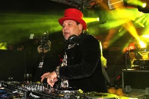 2016: Preston BID Purple Party on the Flag Market. Craig Charles on the decks with his Funk and Soul Show