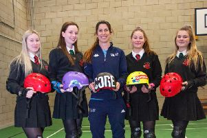 Jenna with some of the Holy Cross pupils she has been mentoring