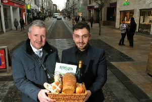 Chairman of City Retail Forum Andrew Stringer, left, and Jonathan Holton, from Preston Business Improvement District, prepare for a new monthly market on Fishergate
