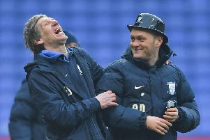 PNE kitman Steve Cowell and Alex Neil share a joke after the Gentry Day win at Bolton last season
