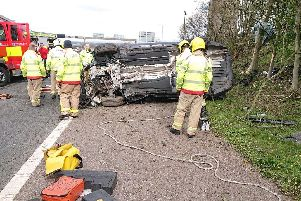 Lancashire Fire and Rescue Service posted this picture from the scene of the crash on the M61