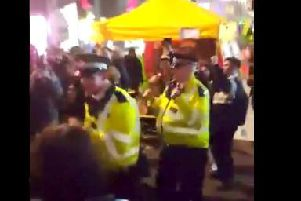 Police dancing at the demonstration (Pic via @WildlifeCafe on Twitter)