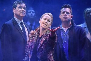 The cast of Blood Brothers featuring Linzi Hateley, Alexander Patmore and Joel Benedict