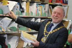 Coun Graham Walton visiting the Royal Mail sorting office in Braconash Road, Leyland in his mayoral year (JPIMedia)