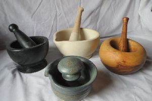 This is a small selection from the range of mortars and pestles available