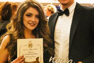 Jess Turton with her award, and Josh Utting (currently playing Jesus in Jesus Christ Superstar at Lancaster Grand).