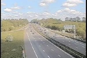 The scene at junction 26 after the road was opened (Traffic England)