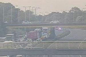 Traffic queueing on the M6 leading up to the site of the accident. Photo: Highways England