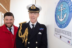 Lee Braham, On Board Manager at Virgin Trains; Captain Chris Smith, Naval Regional Commander Scotland and Northern Ireland RN