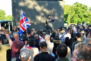 Stephen Yaxley-Lennon, known as Tommy Robinson, gives a speech in Ashton Park, Preston on Monday, May 20.