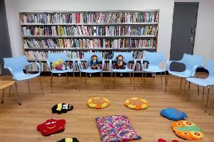 Toddler Rhyme Time at the library.