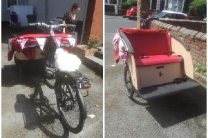 The rickshaw being loaned-in for the day on Friday