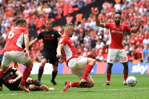Preston North End new boy Patrick Bauer scores Charlton's winner in the play-off final at Wembley - his last touch as an Addicks player