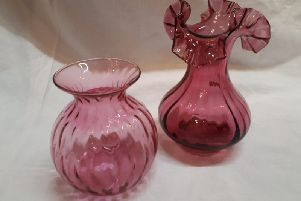 These vases are good examples of cranberry glass