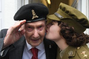 Photo Neil Cross'BIG DAY OUT'Veterans afternoon tea to commemorate D-DAY 75 at Age UK Lancashire, Chorley'D-Day veteran Bob Barron with Vintage Singer Hattie Bee
