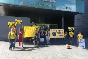 Protesters in Manchester last year to oppose Cuadrilla's injunction
