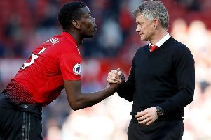 Pogba with United boss Ole Gunnar Solskjaer