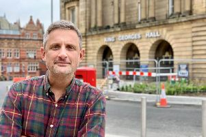 BBC Lancashire breakfast show presenter Graham Liver outside King George's Hall