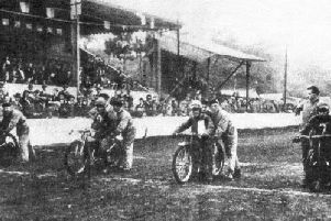 Racers on the startline of Prestons speedway track at Farringdon Park