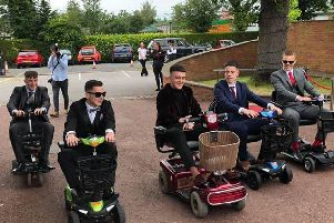 Left to right: Best mates Louis Nicholson, Ryan Davies, Ben Bolton, Josh Smith, Jakub Riedel arrive in style at Fulwood Academy Prom on July 4