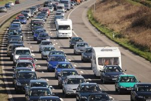Traffic on the southbound M6 is heavy around the Charnock Richard area