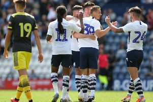 Billy Bodin is congratulated by team-mates after scoring Preston's goal against Southampton
