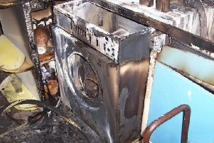A tumble dryer fire taken by a fire officer from Lancashire